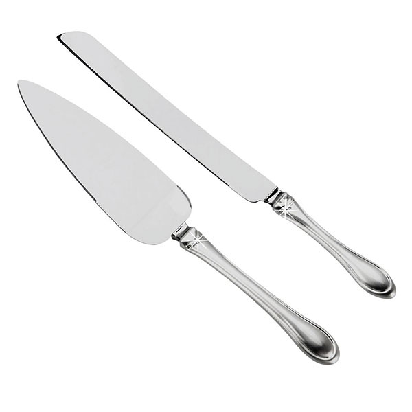 Cake Knife & Server Set with Crystal Bands