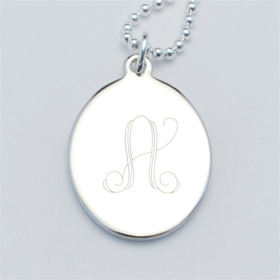 "Sterling 1"" oval pendant"