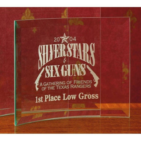 Beveled Curved Crystal Standing Glass Award