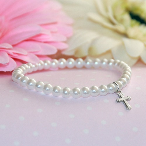Glass Pearl Bracelet with Sterling Cross
