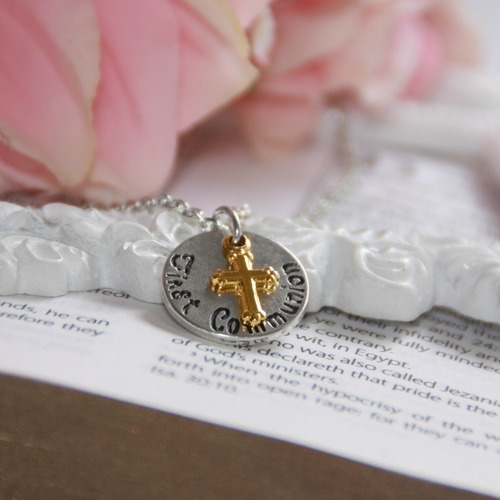 First Communion Cross and Charm Necklace