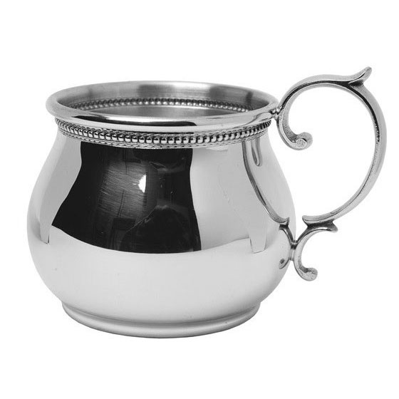 Pewter Bulged Scroll Handled Baby Cup