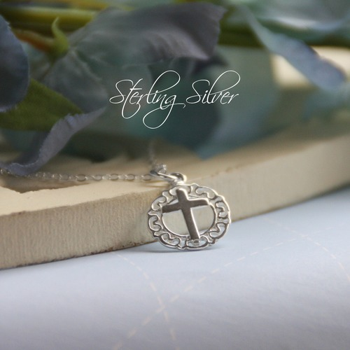 Sterling Cross Necklace with Lace Filigree
