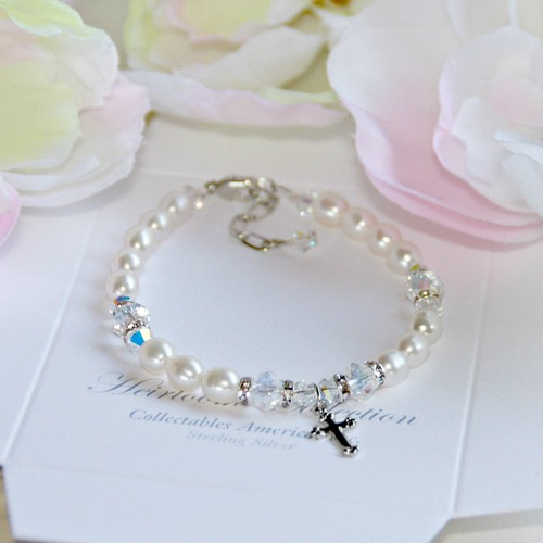 First Communion Crystals & Pearl Bracelet