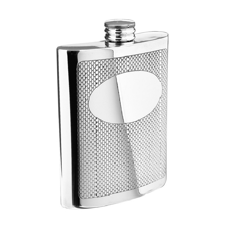 Embossed Pewter Flask
