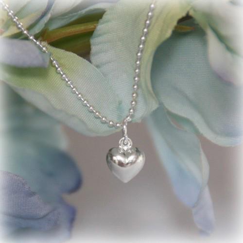 Sterling Infant Puffed Heart Necklace
